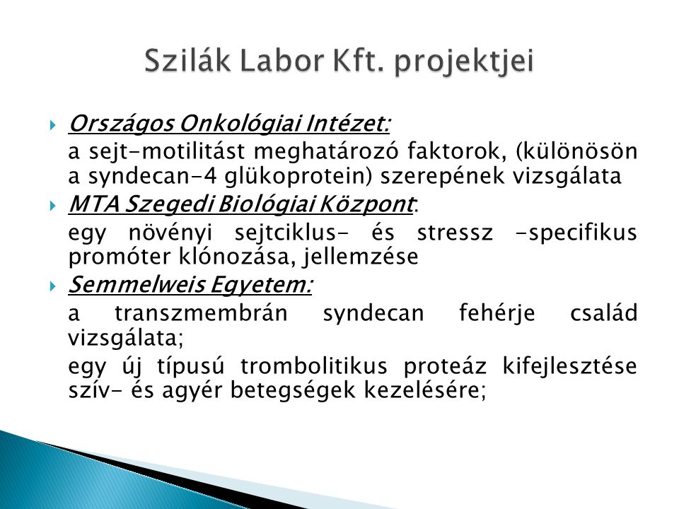 Szilák Labor Kft. projektjei