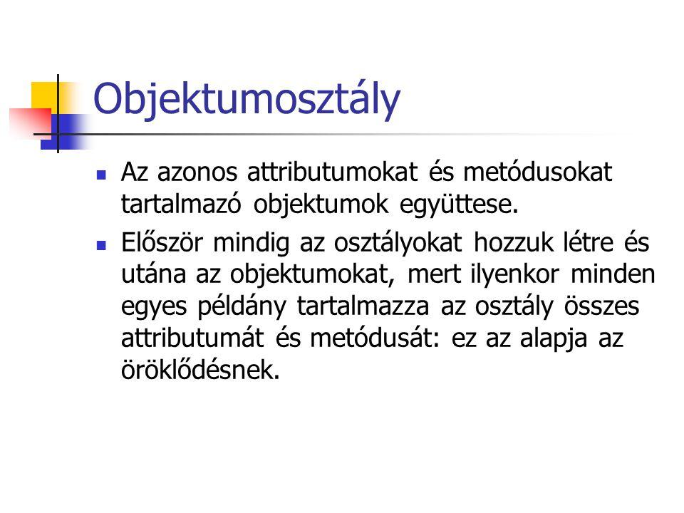 Objektumosztály Az azonos attributumokat és metódusokat tartalmazó objektumok együttese.