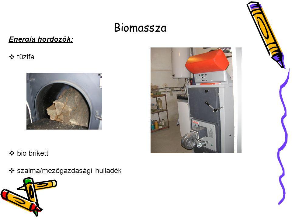 Biomassza Energia hordozók: tűzifa bio brikett