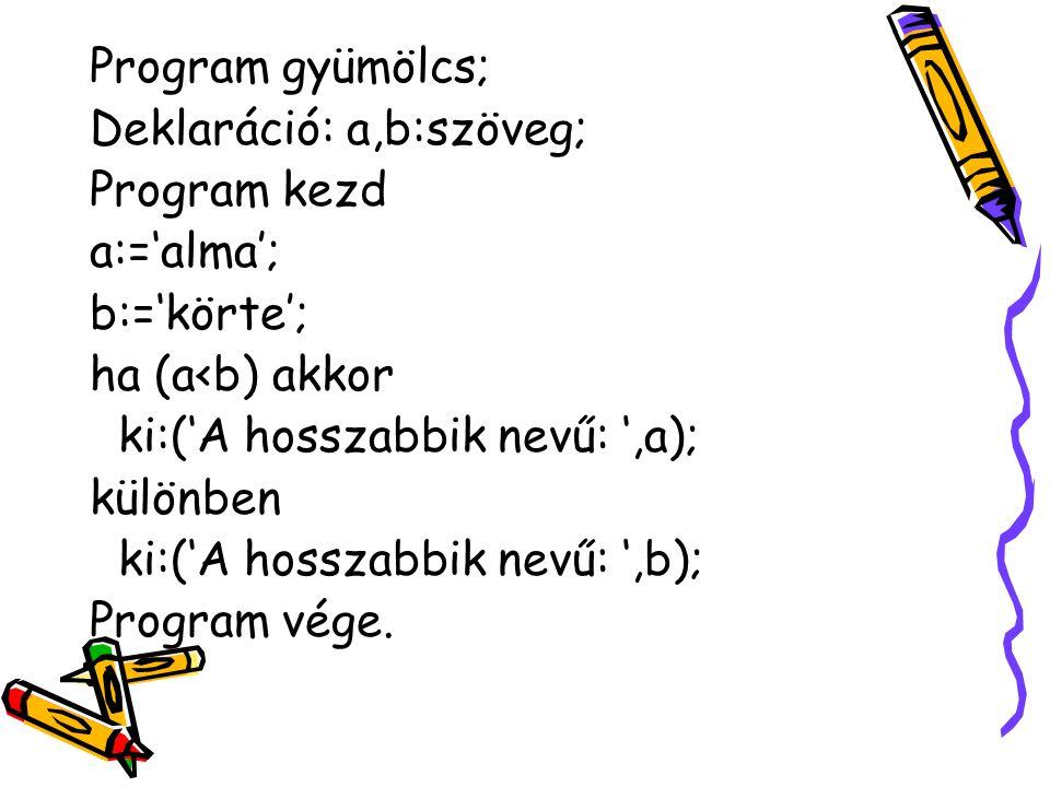 Program gyümölcs; Deklaráció: a,b:szöveg; Program kezd. a:='alma'; b:='körte'; ha (a<b) akkor. ki:('A hosszabbik nevű: ',a);