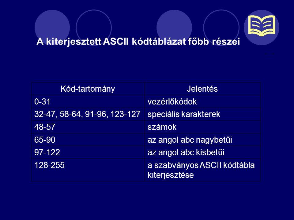 A kiterjesztett ASCII kódtáblázat főbb részei