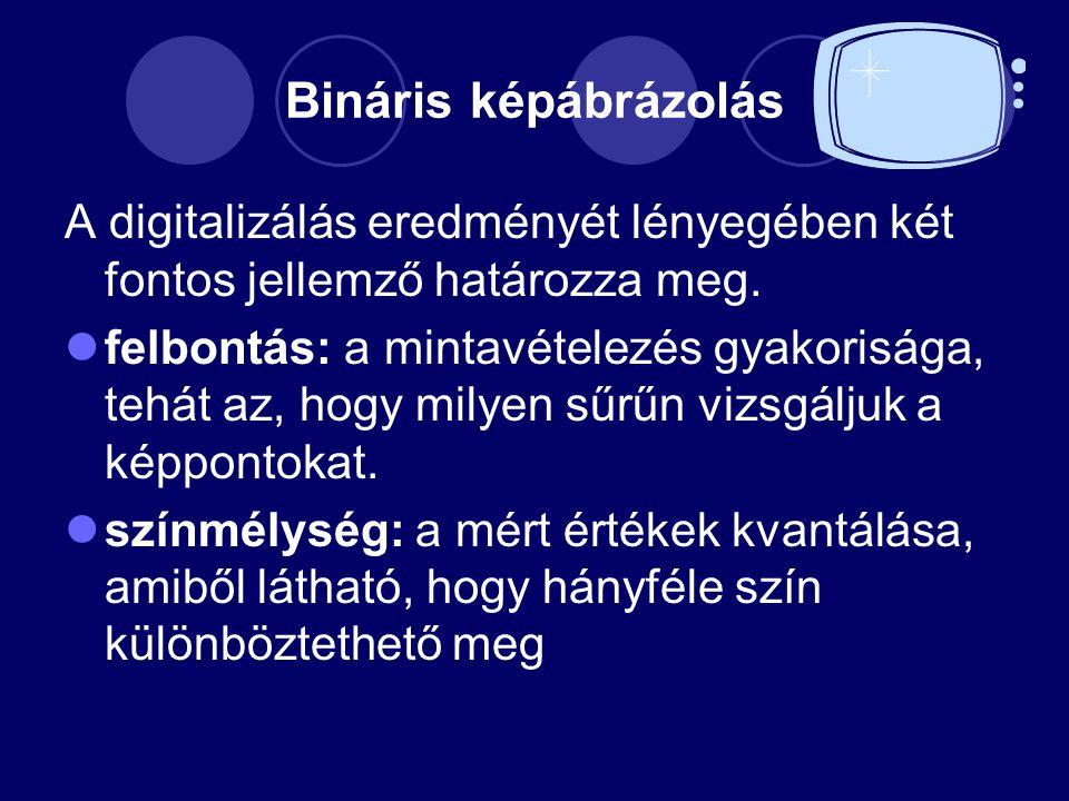Bináris képábrázolás A digitalizálás eredményét lényegében két fontos jellemző határozza meg.