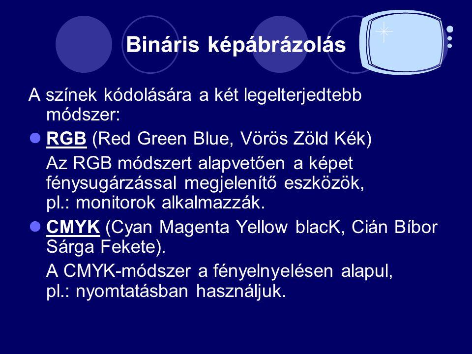 Bináris képábrázolás A színek kódolására a két legelterjedtebb módszer: RGB (Red Green Blue, Vörös Zöld Kék)