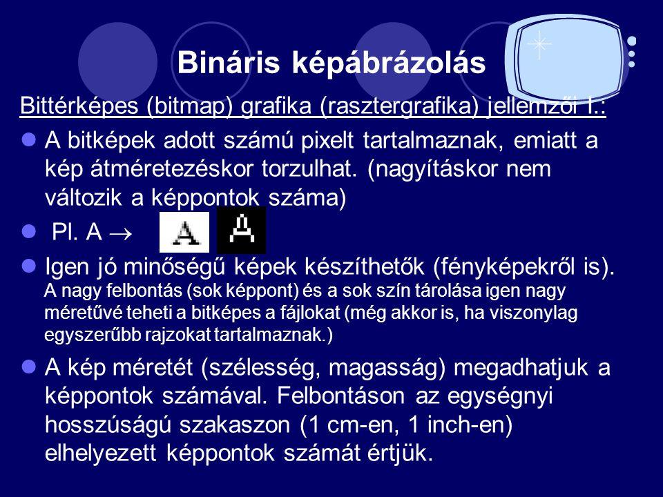 Bináris képábrázolás Bittérképes (bitmap) grafika (rasztergrafika) jellemzői I.: