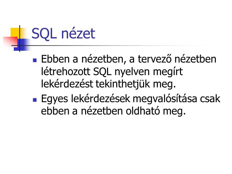 SQL nézet Ebben a nézetben, a tervező nézetben létrehozott SQL nyelven megírt lekérdezést tekinthetjük meg.