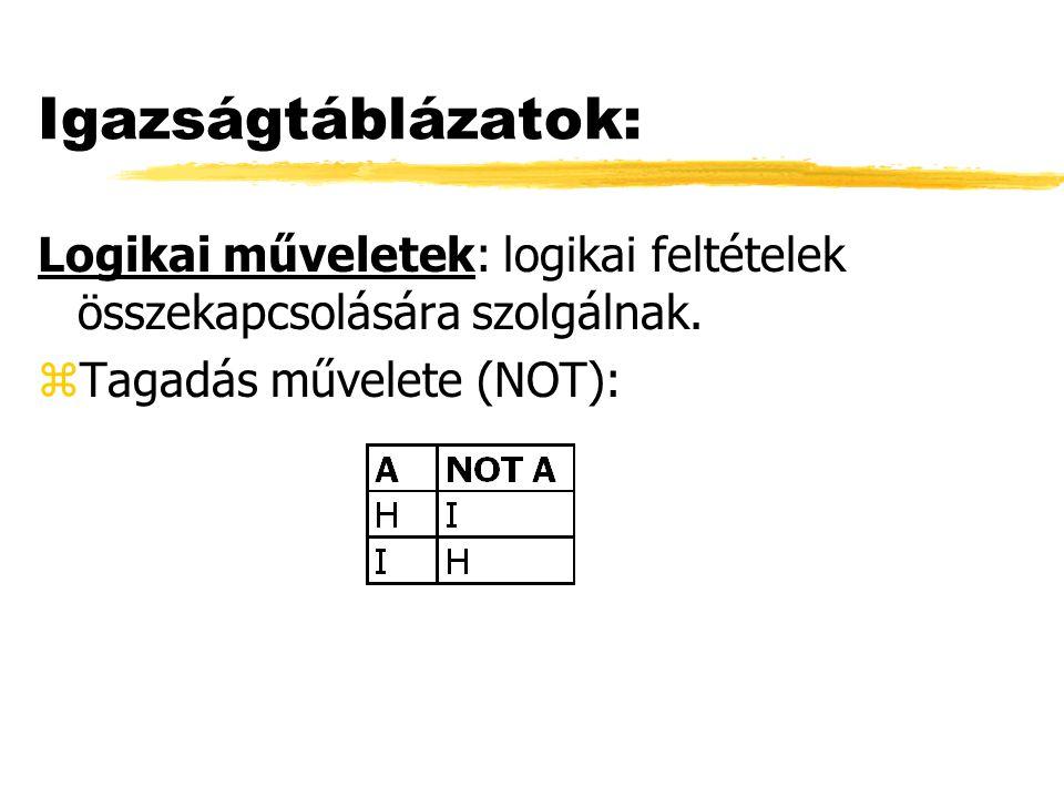 Igazságtáblázatok: Logikai műveletek: logikai feltételek összekapcsolására szolgálnak.