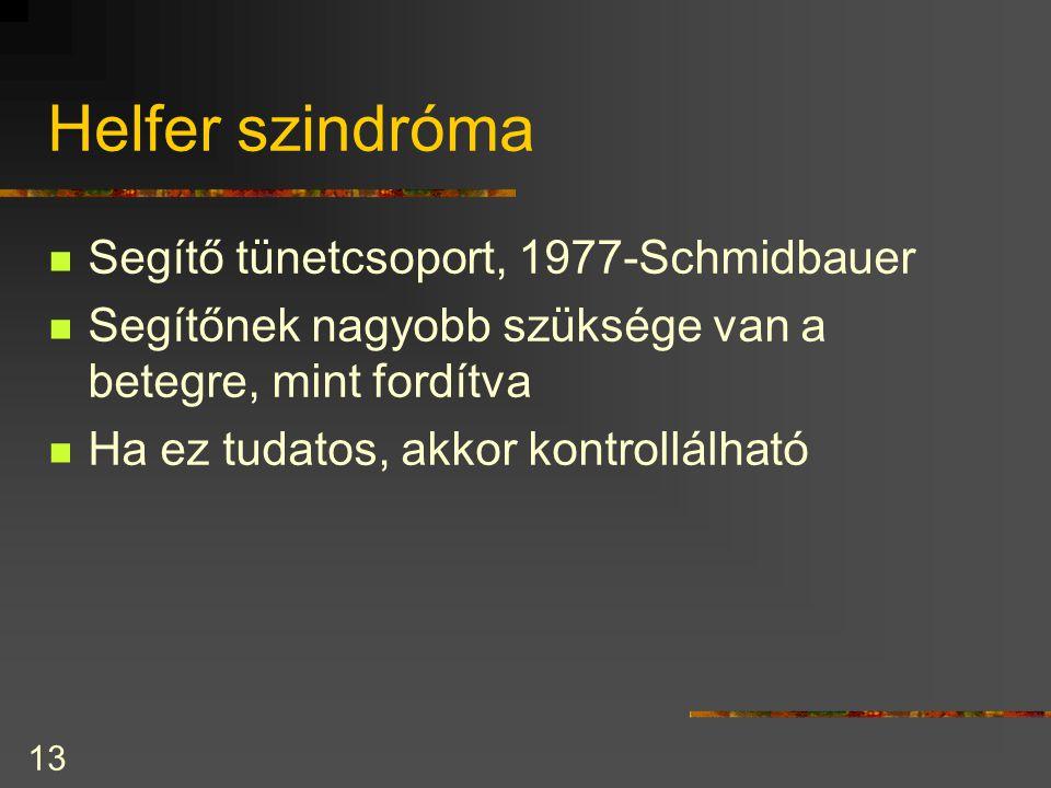 Helfer szindróma Segítő tünetcsoport, 1977-Schmidbauer