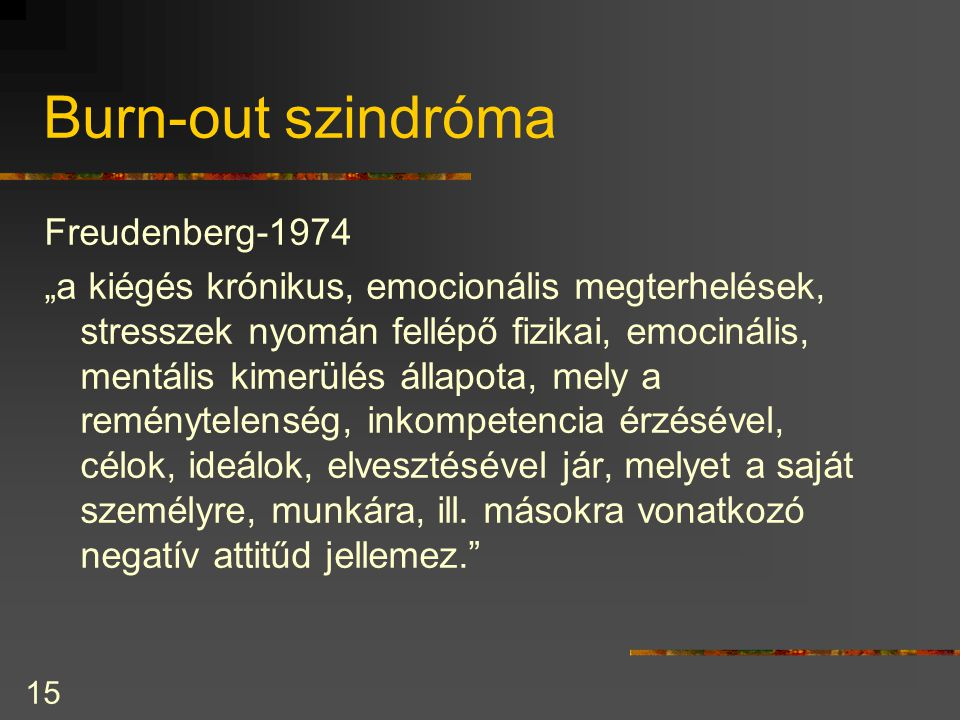 Burn-out szindróma Freudenberg-1974