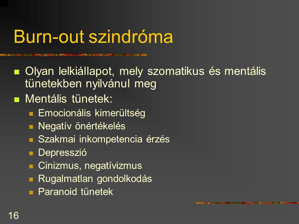 Burn-out szindróma Olyan lelkiállapot, mely szomatikus és mentális tünetekben nyilvánul meg. Mentális tünetek: