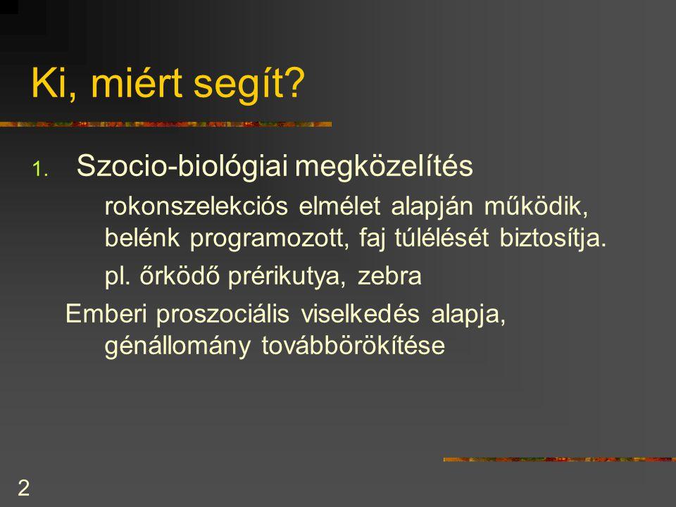 Ki, miért segít Szocio-biológiai megközelítés