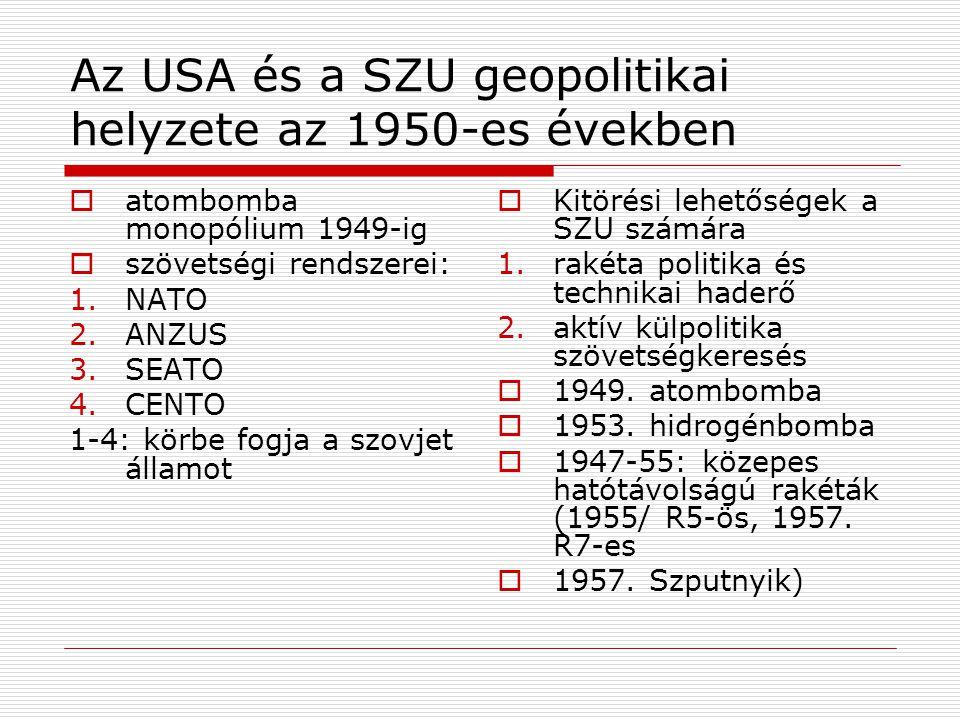 Az USA és a SZU geopolitikai helyzete az 1950-es években