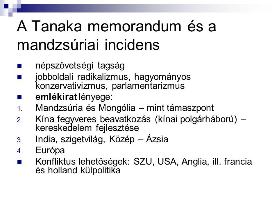 A Tanaka memorandum és a mandzsúriai incidens