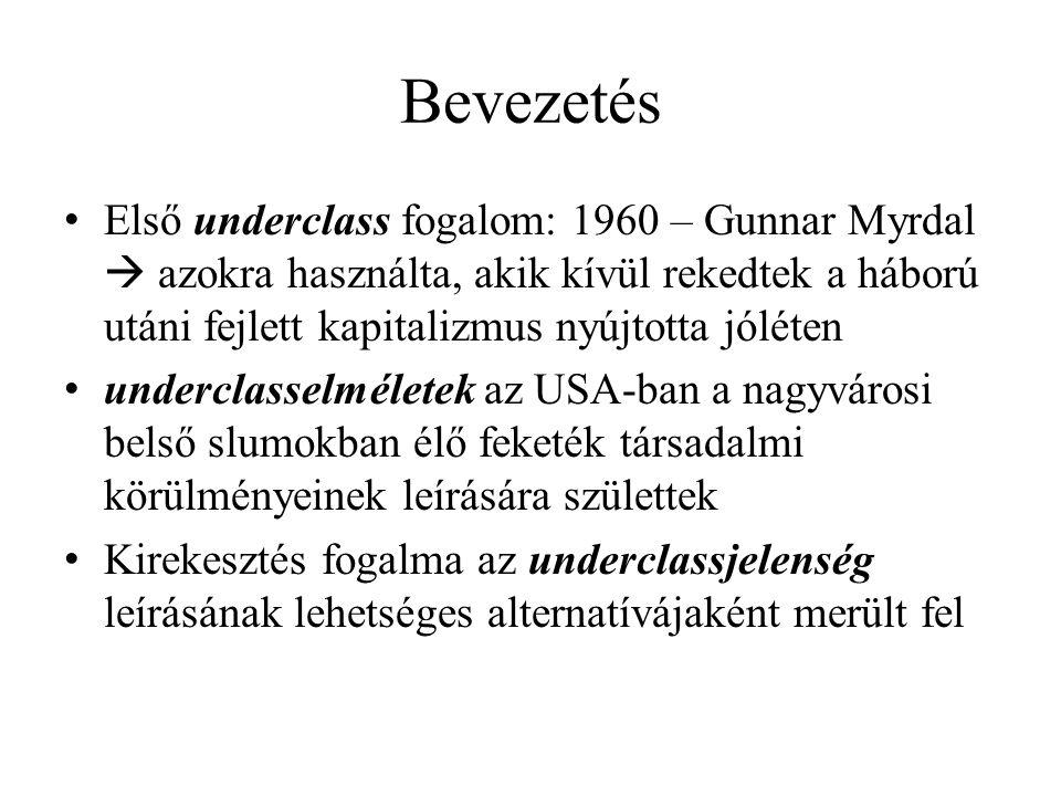 Bevezetés Első underclass fogalom: 1960 – Gunnar Myrdal  azokra használta, akik kívül rekedtek a háború utáni fejlett kapitalizmus nyújtotta jóléten.