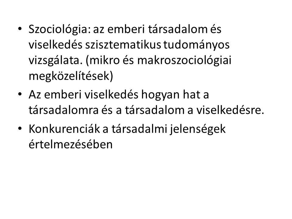 Szociológia: az emberi társadalom és viselkedés szisztematikus tudományos vizsgálata. (mikro és makroszociológiai megközelítések)