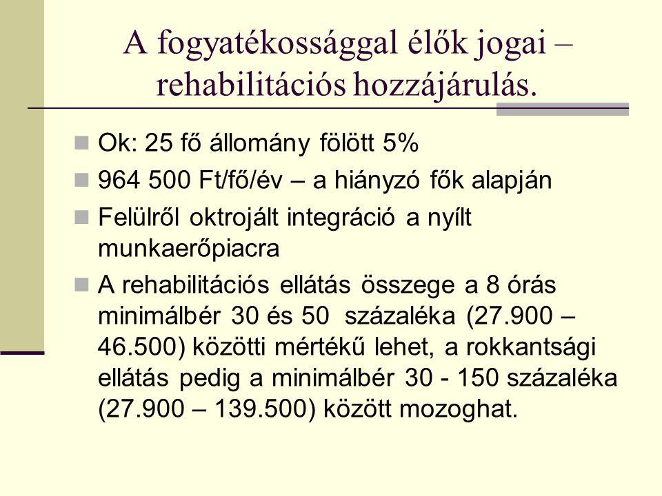 A fogyatékossággal élők jogai – rehabilitációs hozzájárulás.