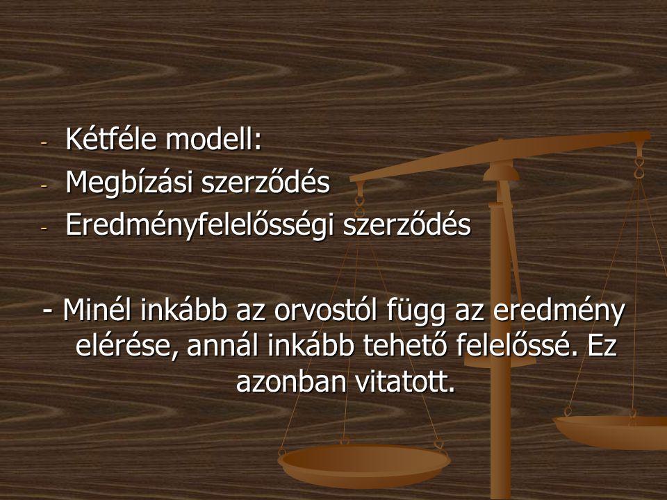 Kétféle modell: Megbízási szerződés. Eredményfelelősségi szerződés.