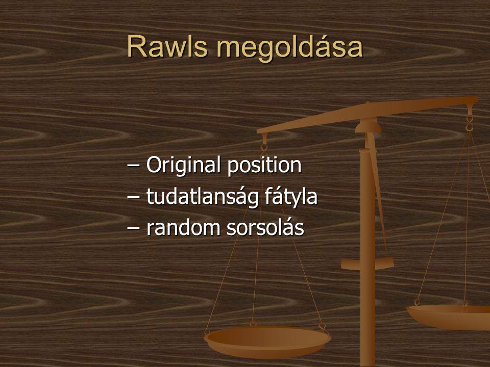 Rawls megoldása – Original position – tudatlanság fátyla