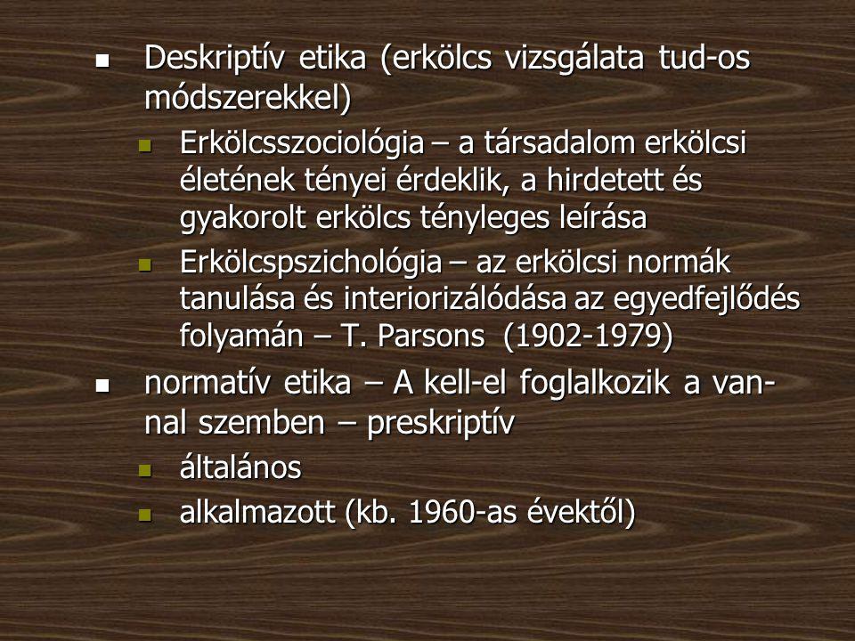 Deskriptív etika (erkölcs vizsgálata tud-os módszerekkel)