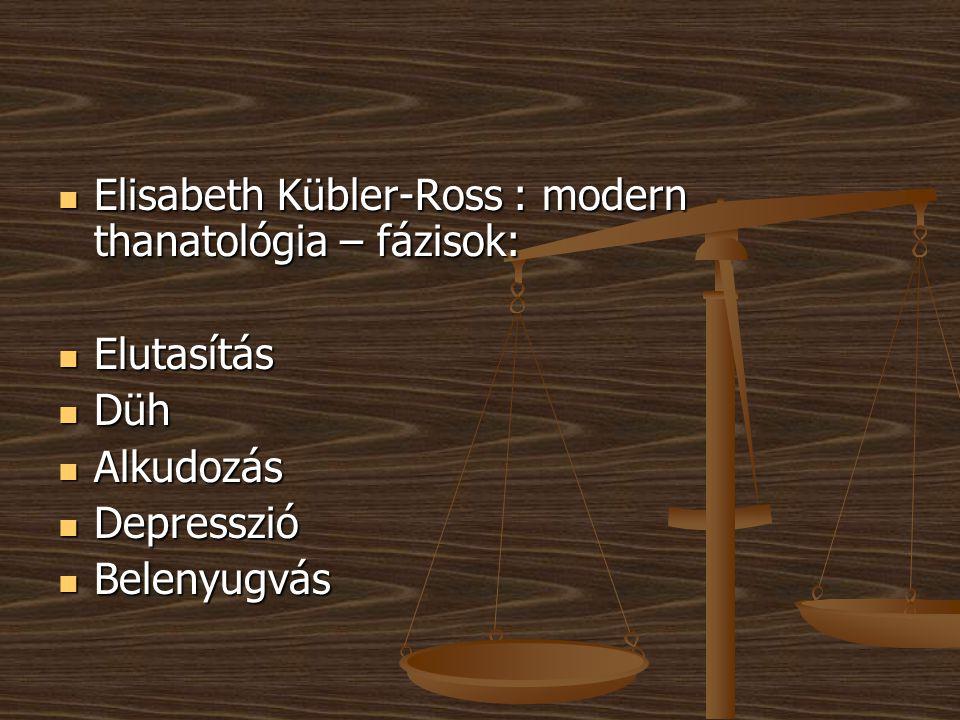 Elisabeth Kübler-Ross : modern thanatológia – fázisok:
