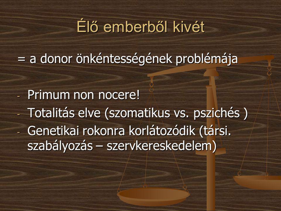 Élő emberből kivét = a donor önkéntességének problémája