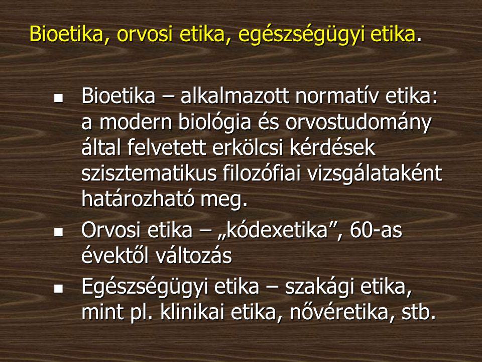 Bioetika, orvosi etika, egészségügyi etika.