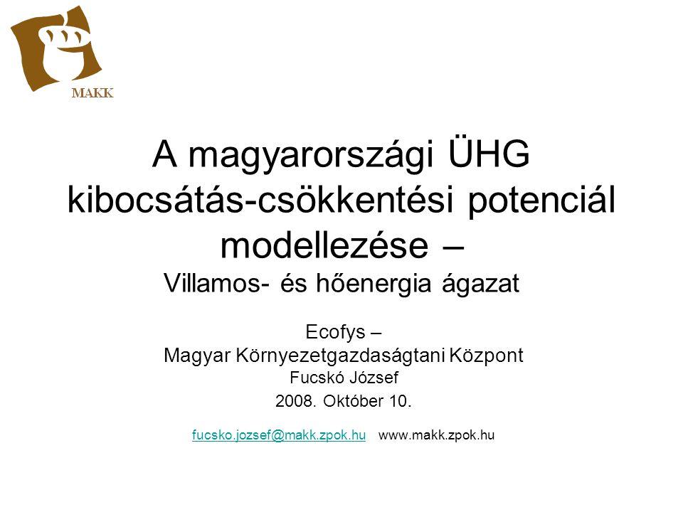 A magyarországi ÜHG kibocsátás-csökkentési potenciál modellezése – Villamos- és hőenergia ágazat
