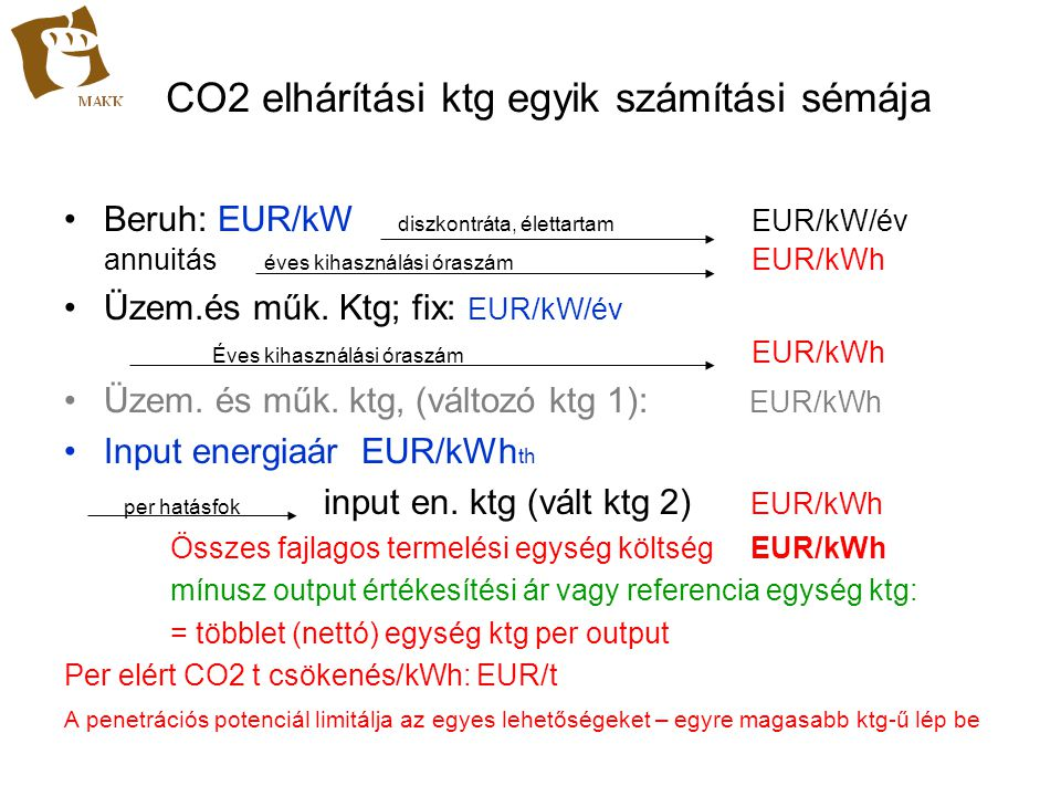 CO2 elhárítási ktg egyik számítási sémája