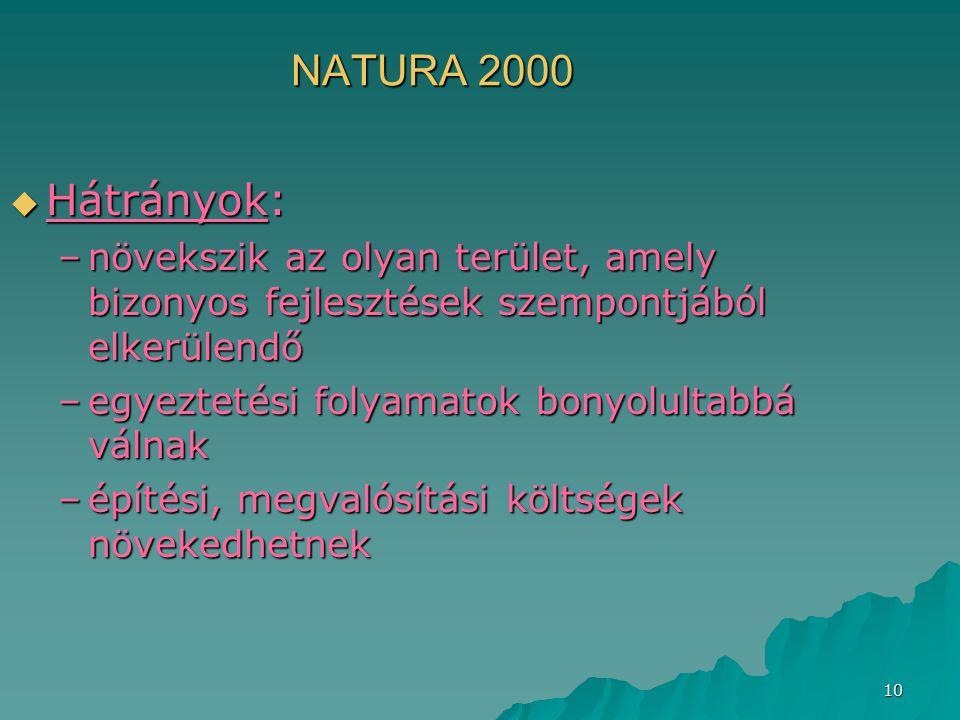 NATURA 2000 Hátrányok: növekszik az olyan terület, amely bizonyos fejlesztések szempontjából elkerülendő.
