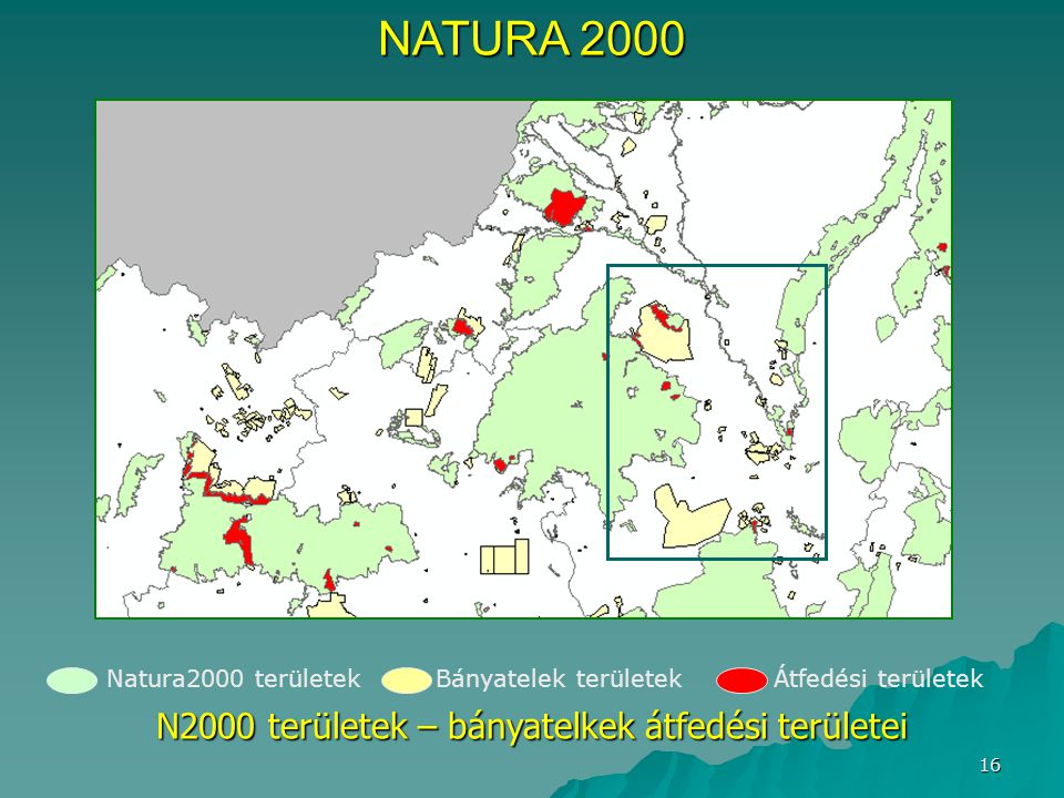 N2000 területek – bányatelkek átfedési területei