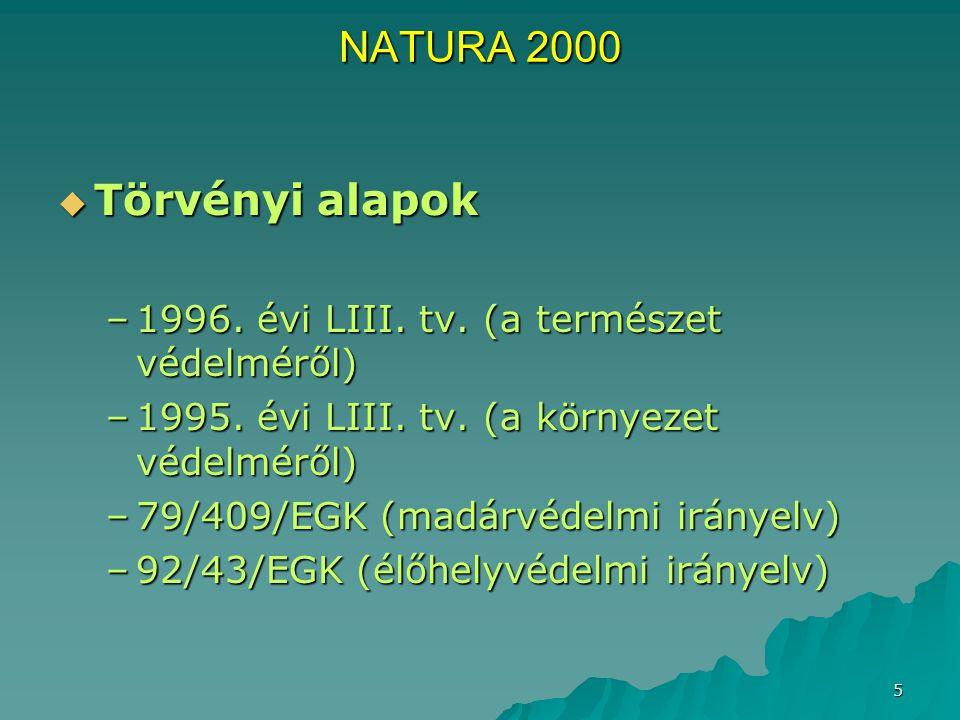 NATURA 2000 Törvényi alapok