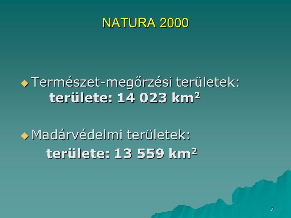 Természet-megőrzési területek: területe: 14 023 km2
