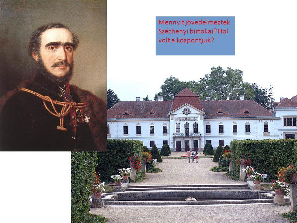 Mennyit jövedelmeztek Széchenyi birtokai Hol volt a központjuk