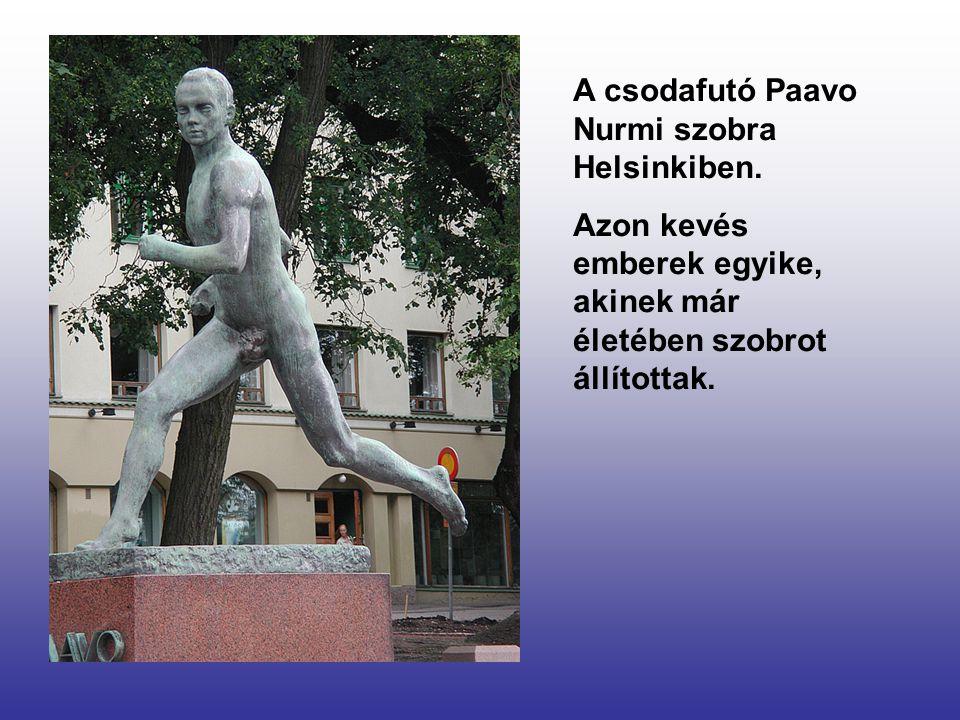 A csodafutó Paavo Nurmi szobra Helsinkiben.