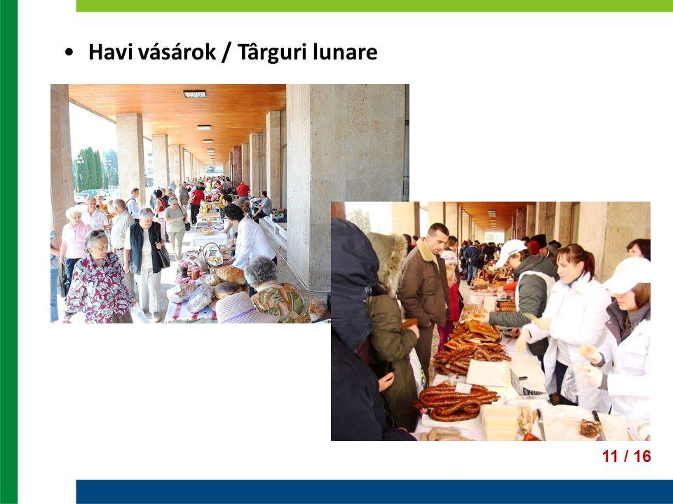 Havi vásárok / Târguri lunare