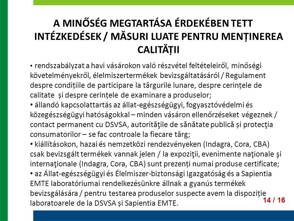 A MINŐSÉG MEGTARTÁSA ÉRDEKÉBEN TETT INTÉZKEDÉSEK / MĂSURI LUATE PENTRU MENȚINEREA CALITĂȚII