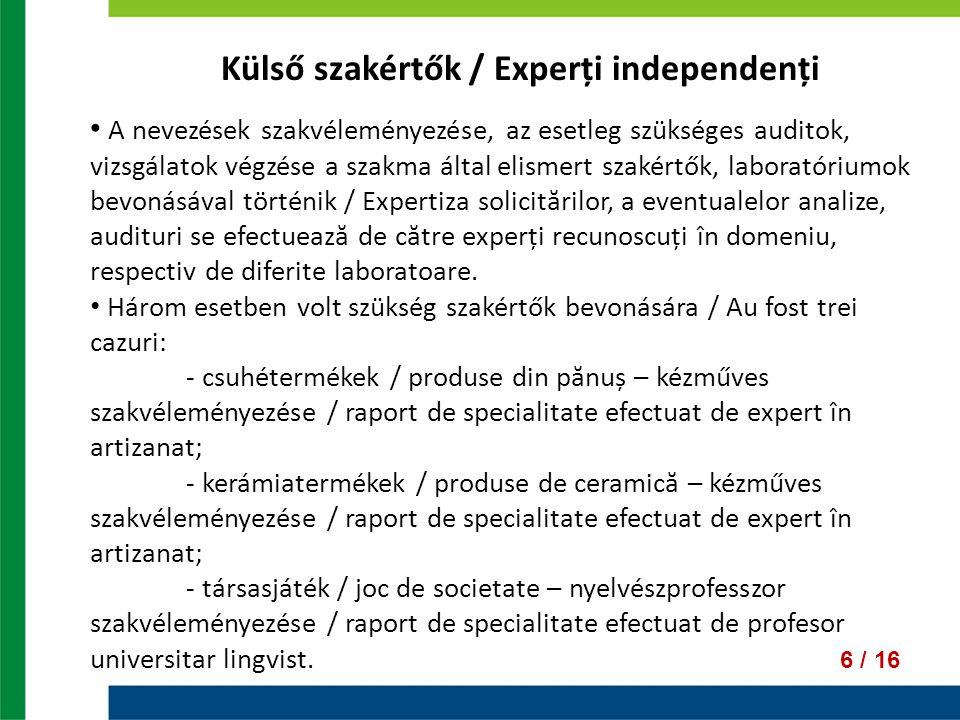 Külső szakértők / Experți independenți