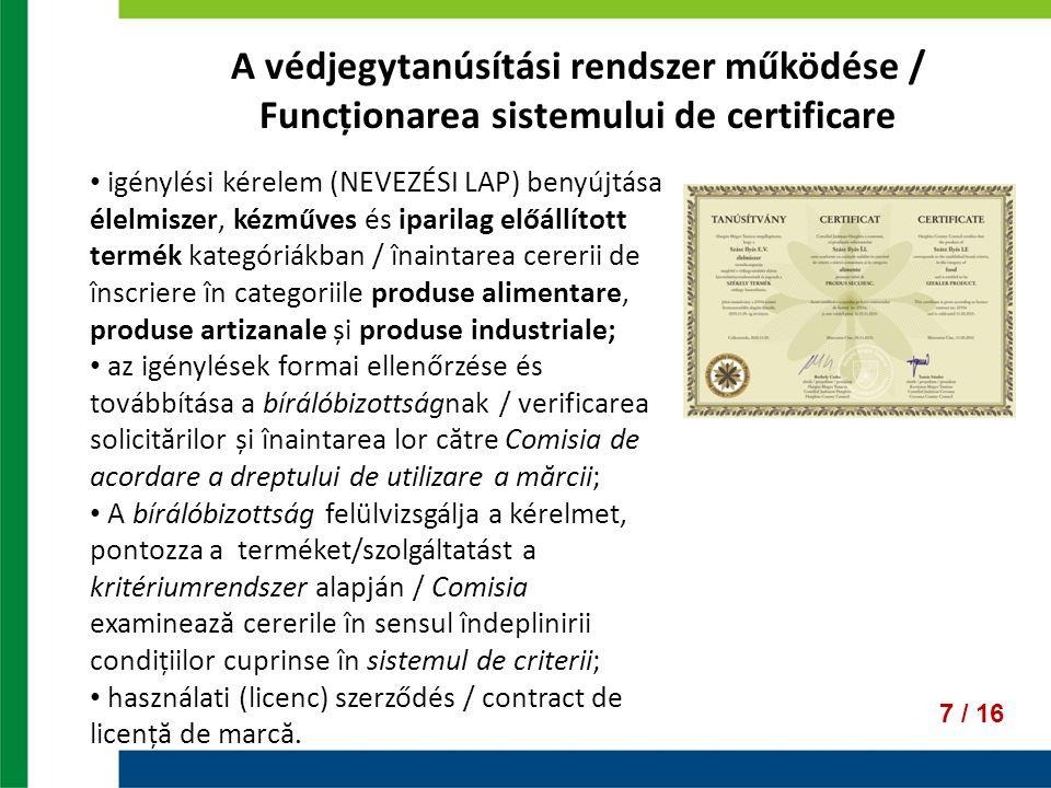 A védjegytanúsítási rendszer működése / Funcționarea sistemului de certificare