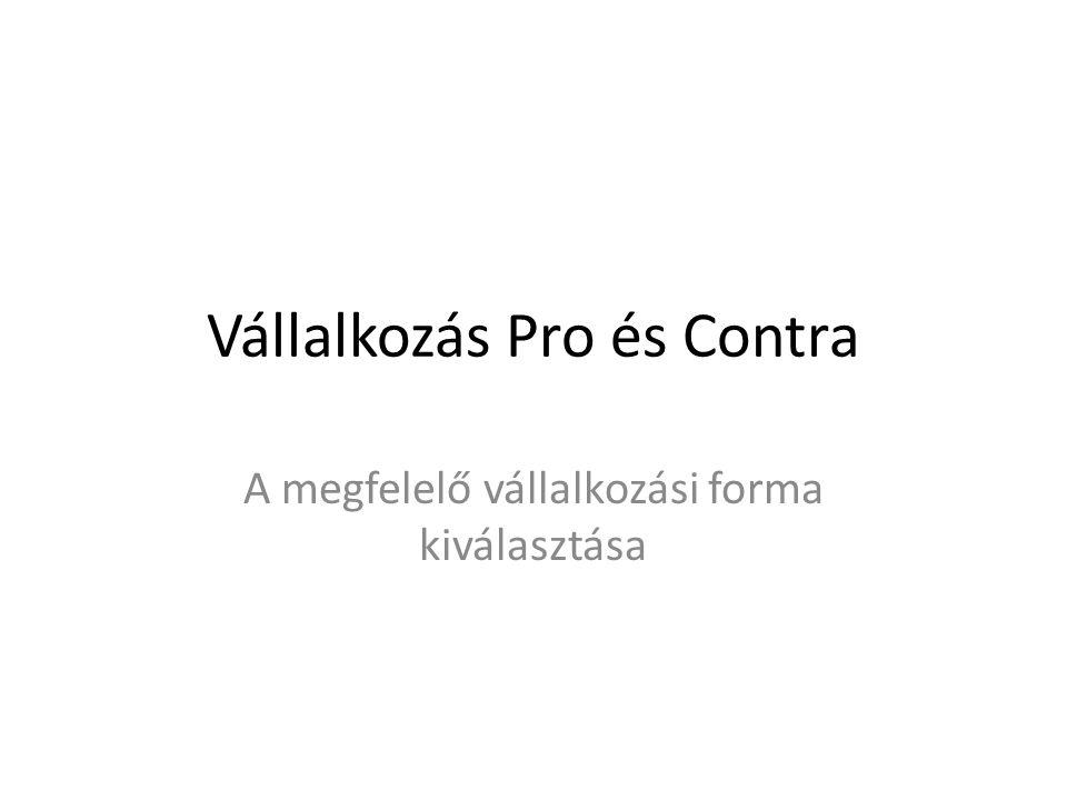 Vállalkozás Pro és Contra