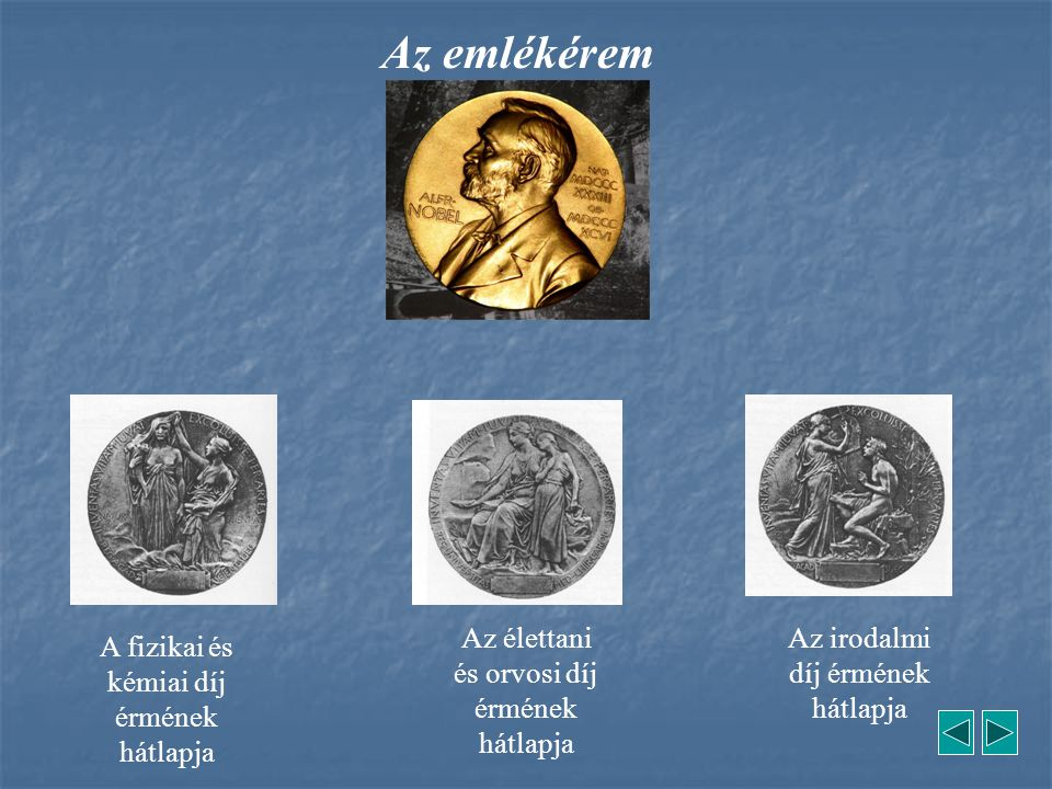 Az emlékérem A fizikai és kémiai díj érmének hátlapja