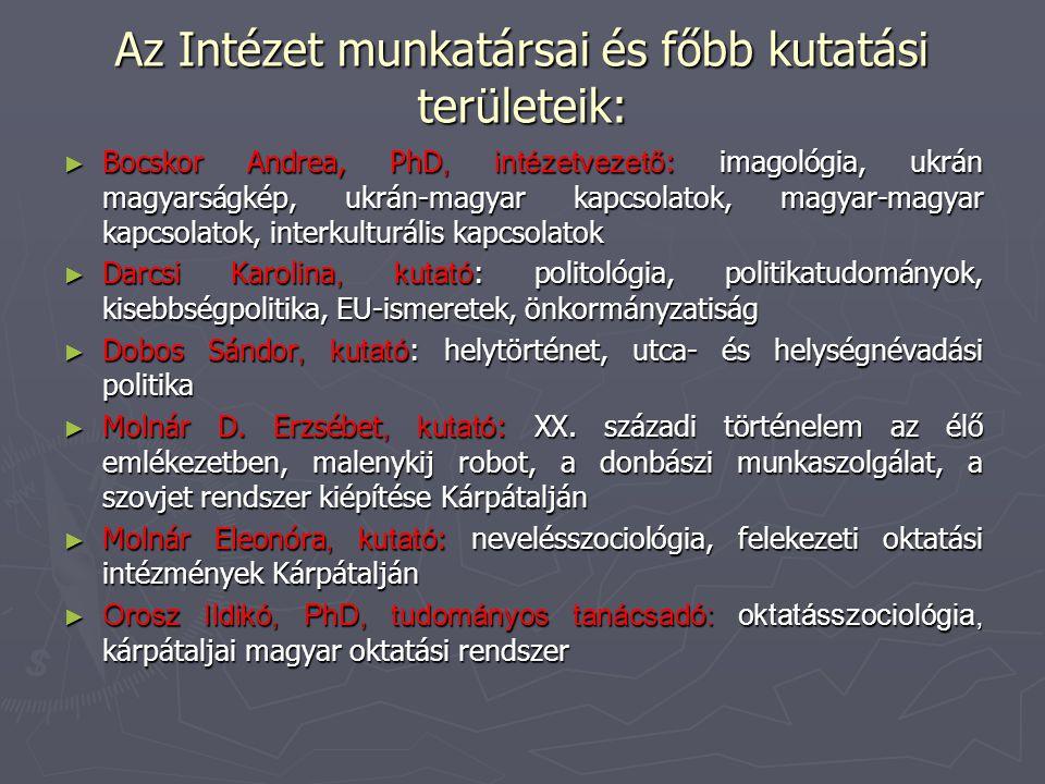 Az Intézet munkatársai és főbb kutatási területeik: