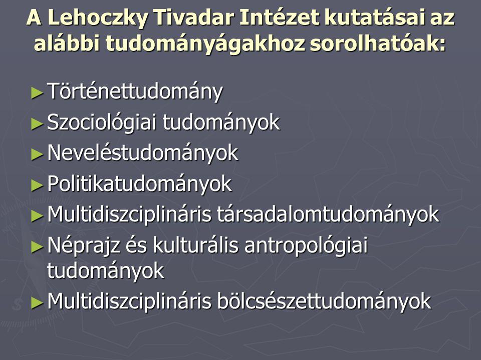 A Lehoczky Tivadar Intézet kutatásai az alábbi tudományágakhoz sorolhatóak: