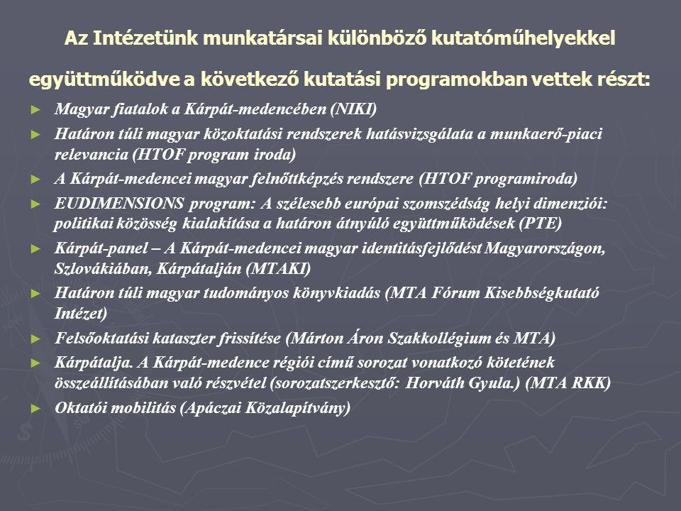 Az Intézetünk munkatársai különböző kutatóműhelyekkel együttműködve a következő kutatási programokban vettek részt: