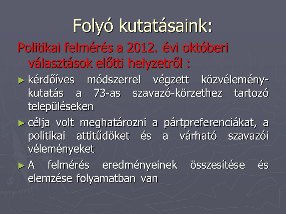 Folyó kutatásaink: Politikai felmérés a 2012. évi októberi választások előtti helyzetről :