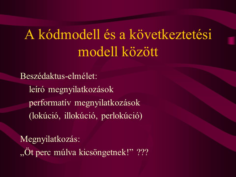 A kódmodell és a következtetési modell között