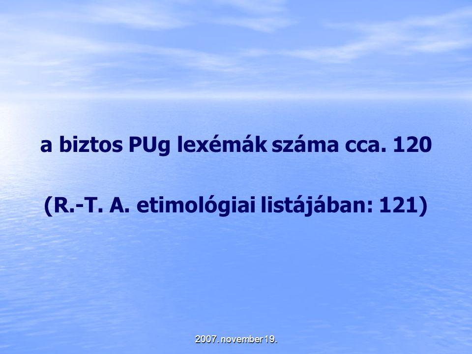 a biztos PUg lexémák száma cca. 120