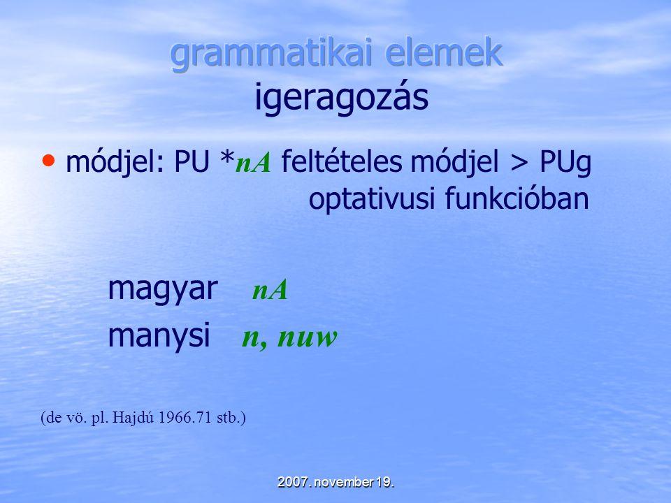 grammatikai elemek igeragozás