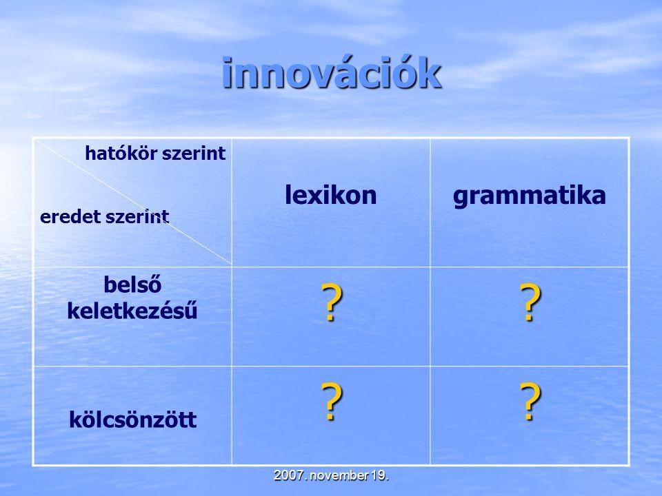 innovációk lexikon grammatika belső keletkezésű kölcsönzött