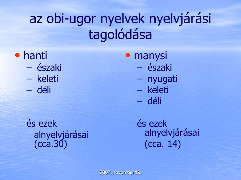az obi-ugor nyelvek nyelvjárási tagolódása