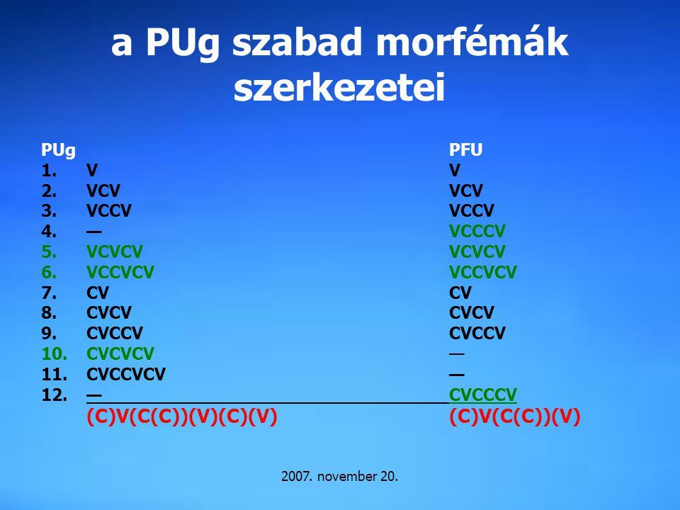 a PUg szabad morfémák szerkezetei