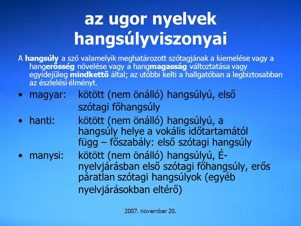 az ugor nyelvek hangsúlyviszonyai
